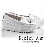 Keeley Ann全真皮流蘇厚底軟墊莫卡辛鞋(白色636158140)