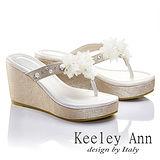 Keeley Ann 優雅渡假-幸福花瓣厚底夾腳涼鞋(淺金色531158339)