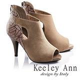Keeley Ann質感氣勢羊麂皮高跟露趾羅馬涼鞋(咖啡673532270)-Ann系列