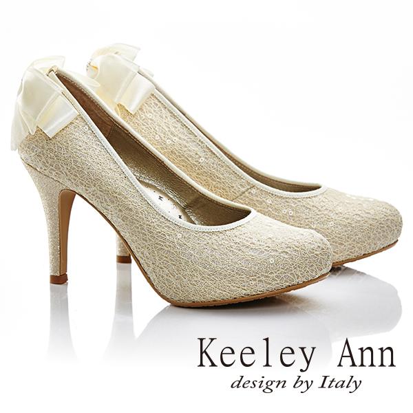 Keeley Ann 新娘物語-溫柔線珠蝴蝶結真皮軟墊高跟鞋(金色585158237)