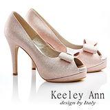Keeley Ann新娘晚宴~細緻亮蔥蝴蝶結魚口高跟鞋(粉金色535288254)