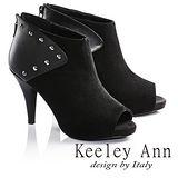 Keeley Ann鉚釘龐克羊麂皮高跟露趾羅馬涼鞋(黑673532310)-Ann系列