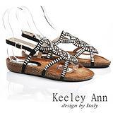 Keeley Ann 民族風情~細緻鏤空條目造型涼鞋(黑色532158110)