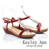 Keeley Ann 夏日美型 - 排珠金屬造型Q軟牛皮涼鞋(紅色532943250)