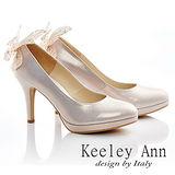 Keeley Ann 新娘晚宴-真皮甜美蝴蝶結造型高跟鞋(淺粉色515156158-Angel系列)