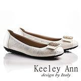 Keeley Ann閃閃動人金屬釦飾拼接真皮平底娃娃鞋(白色635253140)