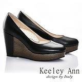 Keeley Ann 質感素面~全真皮好感簡單圓頭厚底楔型鞋(黑色585273310)