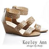 Keeley Ann 春天氣象-微鏤空幾何後拉鍊涼鞋(棕色533158125)