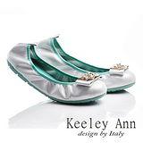 Keeley Ann 風華高貴-大方金屬扣全真皮娃娃鞋(銀色535013227)