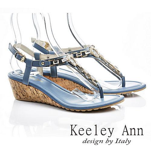 Keeley Ann 自然優雅-環扣真皮夾腳人字涼鞋(藍色532183260)