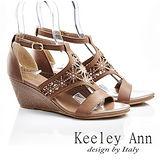 Keeley Ann 復刻印象-全真皮碎花鏤空水鑽涼鞋(咖啡色533033170)