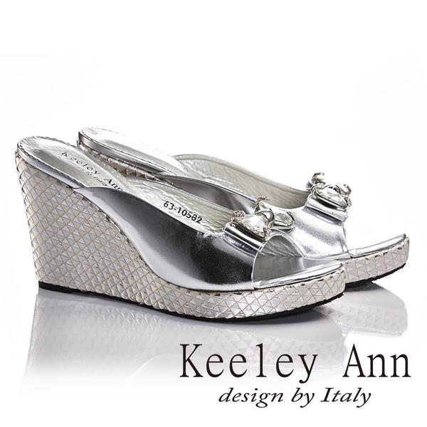 Keeley Ann蝴蝶結鑽飾真皮幾何圖騰楔形跟鞋(銀色631058227)