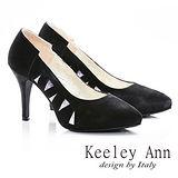 Keeley Ann 神秘佳人- 幾何造型麂皮高跟鞋(黑色585158410)