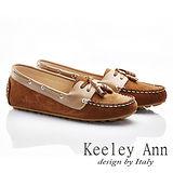 Keeley Ann 隨性主張~蝴蝶結綁帶柔軟全真皮莫卡辛鞋(棕色585223225)