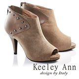 Keeley Ann鉚釘龐克羊麂皮高跟露趾羅馬涼鞋(咖啡673532370)-Ann系列