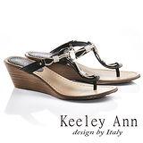 Keeley Ann金屬鍊條美鑽T型真皮夾腳楔形拖鞋(黑色631008210)