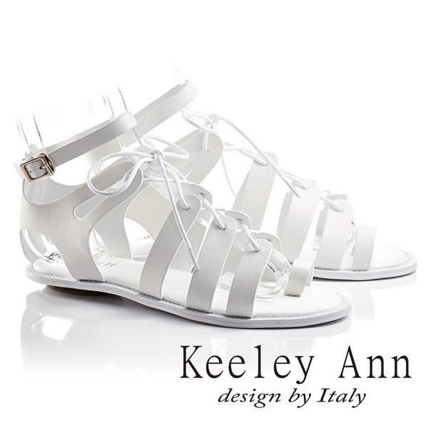 Keeley Ann視覺饗宴綁帶真皮平底羅馬涼鞋(白色623692140)-Ann系列
