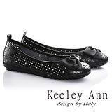 Keeley Ann俏皮洞洞蝴蝶結OL真皮平底娃娃鞋(黑色635363210)