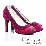 Keeley Ann 摩登時尚-撞色質感魚口高跟鞋(桃紅色485093253)