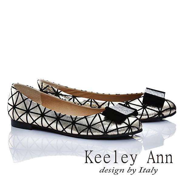 Keeley Ann 簡單性格-紋路簡約蝴蝶結金屬扣娃娃鞋(金色465251137-ANGEL系列)