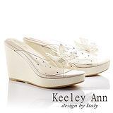 Keeley Ann 戀夏蝴蝶~氣質鑽珠厚底楔型涼鞋(淺金色)531158239