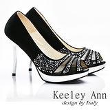 Keeley Ann 異國衝擊~品味水鑽透膚性感魚口高跟鞋(黑色585058110)
