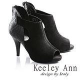 Keeley Ann質感氣勢羊麂皮高跟露趾羅馬涼鞋(黑673532210)-Ann系列
