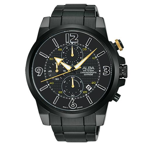 ALBA 雅柏錶 ACTIVER系列 時尚玩街頭三眼寄時不鏽鋼腕錶/44mm/AM3399X1/VD57-X089SD