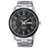 ALBA 雅柏 簡約生活直線條Prestige系列魅力型男腕錶/鐵灰-43mm/VJ43-X022N