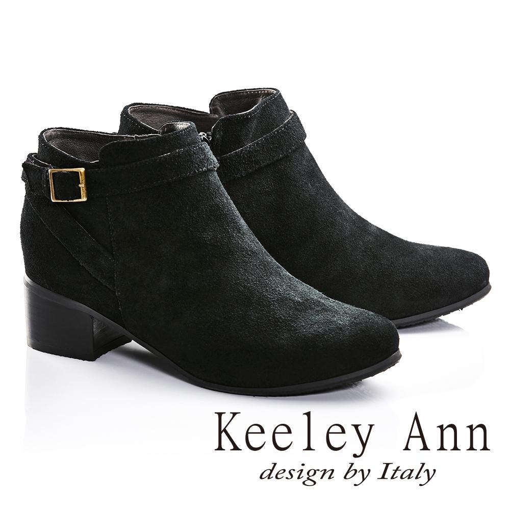Keeley Ann俐落簡約金屬方形釦飾全麂皮短靴(黑色677357110-Ann系列)