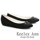 Keeley Ann簡約甜美蝴蝶結OL全真皮內增高娃娃鞋(黑色675362110-Ann系列)