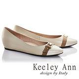 Keeley Ann俐落個性金屬飾釦OL全真皮內增高低跟鞋(米色675362230-Ann系列)