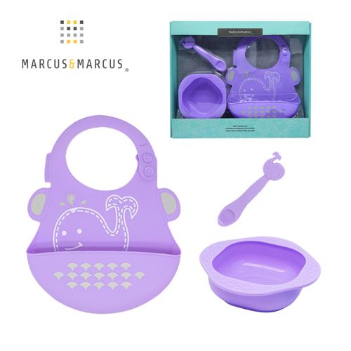 【MARCUS&MARCUS】動物樂園餵食禮盒組-鯨魚(紫)