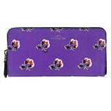 COACH 馬車花卉PVCㄇ字拉鍊長夾(紫)