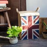 【收納職人】美式復古LOFT工業風英國國旗附蓋黃麻收納整理籃/儲物盒 (英國風)