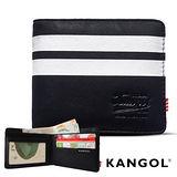 KANGOL 韓式潮流-多夾層橫式短皮夾+鑰匙圈禮盒- 條紋黑 KG1162