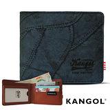 KANGOL 韓式潮流-多夾層橫式短皮夾+鑰匙圈禮盒- 牛仔藍 KG1162
