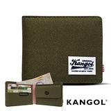 KANGOL 韓式潮流-多夾層/零錢袋橫式短皮夾+鑰匙圈禮盒- 帆布綠 KG1162