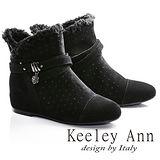 Keeley Ann異國情懷-絨毛滾邊皮帶環釦造型真皮內增高短靴(黑色687078110)