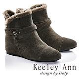 Keeley Ann異國情懷-絨毛滾邊皮帶環釦造型真皮內增高短靴(豆沙色687078177)
