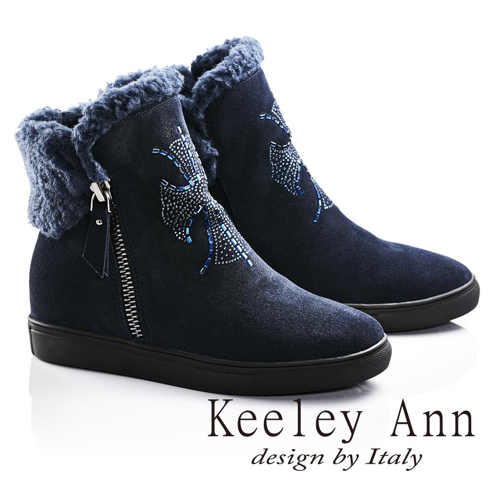 Keeley Ann異國情懷-絨毛滾邊十字架水鑽設計真皮內增高短靴(藍色687078260)