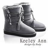 Keeley Ann異國戀冬-暖毛流蘇綁帶造型真皮平底中筒靴(灰色687158480)