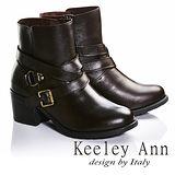 Keeley Ann騎士風格-交叉雙皮帶飾釦真皮中跟短靴(咖啡色687163270)
