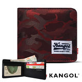 KANGOL 韓式潮流-多夾層橫式短皮夾+鑰匙圈禮盒- 迷彩紅 KG1162