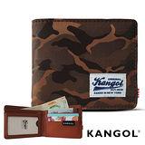 KANGOL 韓式潮流 多夾層橫式短皮夾+鑰匙圈禮盒-迷彩棕 KG1162