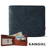 KANGOL 韓式潮流-多夾層橫式短皮夾+鑰匙圈禮盒- 皮紋靛 KG1162