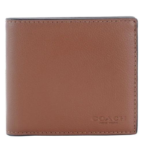 COACH  素面皮革雙折短夾(8卡)(淺咖)