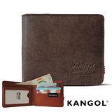KANGOL 韓式潮流-多夾層橫式短皮夾+鑰匙圈禮盒- 皮紋褐 KG1162