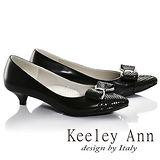 Keeley Ann浪漫滿分-菱格壓紋蝴蝶結飾釦OL真皮低跟鞋(黑色685093210)