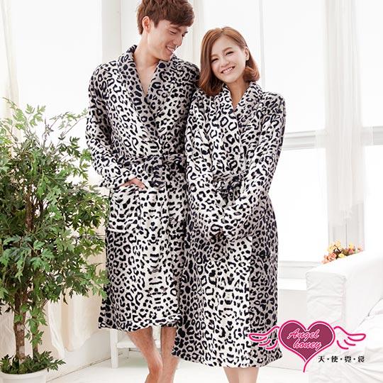 【天使霓裳】保暖睡袍 浪漫時光 豹紋珊瑚絨一件式綁帶睡衣(男or女)